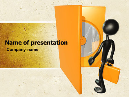 Compact Disk In A Box PowerPoint Template, 04931, Careers/Industry — PoweredTemplate.com