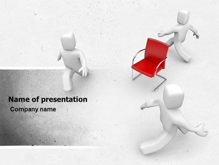 Businessmen Running Around Chairman PowerPoint Template, 04943, Careers/Industry — PoweredTemplate.com