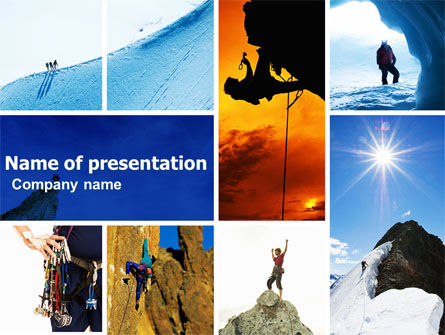 Mountain Climber PowerPoint Template, 04944, Sports — PoweredTemplate.com