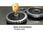 Business Concepts: Key To Lock Mechanism PowerPoint Template #04966
