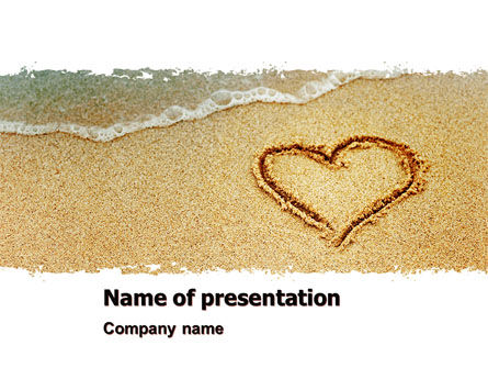 Holiday/Special Occasion: Heart On Sand PowerPoint Template #04969