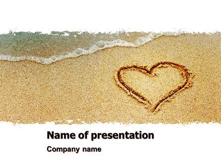 Heart On Sand PowerPoint Template