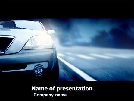 Cars and Transportation: Car On the Road In Twilight PowerPoint Template #04982