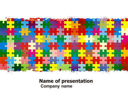 Colorful Puzzle Canvas PowerPoint Template, 05021, Abstract/Textures — PoweredTemplate.com