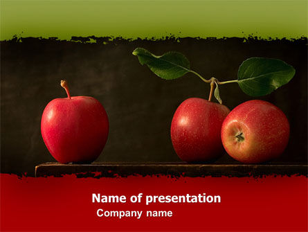 Red Apples PowerPoint Template, 05037, Agriculture — PoweredTemplate.com