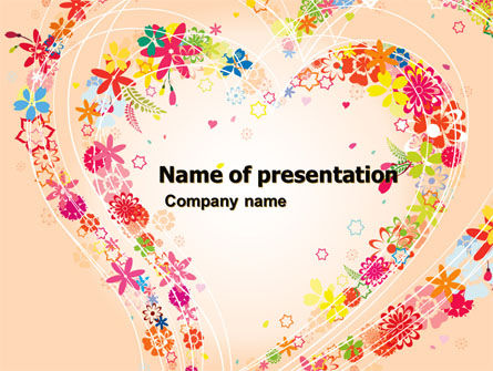 Holiday/Special Occasion: Blooming Heart PowerPoint Template #05055