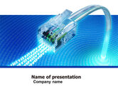 Telecommunication: Patch Cord In Blue Colors PowerPoint Template #05058