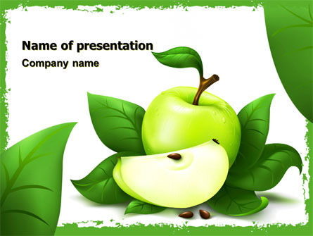 Cut Green Apple PowerPoint Template, 05071, Food & Beverage — PoweredTemplate.com