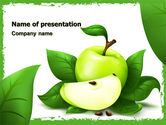Food & Beverage: Cut Green Apple PowerPoint Template #05071