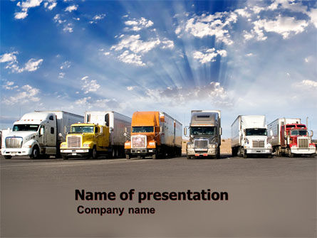 Trucks PowerPoint Template, 05080, Cars and Transportation — PoweredTemplate.com