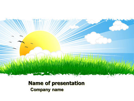 Sunrise Illustration PowerPoint Template, 05081, Nature & Environment — PoweredTemplate.com