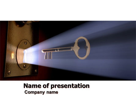 Keyhole With Light Beam PowerPoint Template