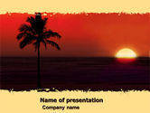 Nature & Environment: Tropical Sunset PowerPoint Template #05128