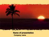 Nature & Environment: Templat PowerPoint Matahari Terbenam Tropis #05128