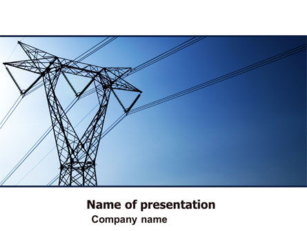 Careers/Industry: Power Lines Mast PowerPoint Template #05131