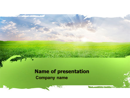 Aurora Over The Green Field PowerPoint Template, 05135, Agriculture — PoweredTemplate.com
