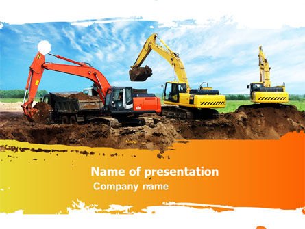 Utilities/Industrial: Excavator PowerPoint Template #05136