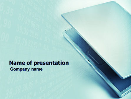 Technology and Science: Laptop In Light Blue Color PowerPoint Template #05146