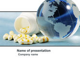 Medical: Bottle Of Tablets With Globe PowerPoint Template #05180