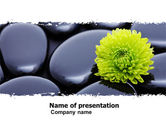 Health and Recreation: Yellow Flower In A Dark Blue Stones PowerPoint Template #05187