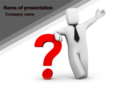 Red Question Mark Under Hand Of Man PowerPoint Template