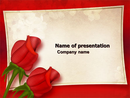 Holiday/Special Occasion: Red Roses Card PowerPoint Template #05207