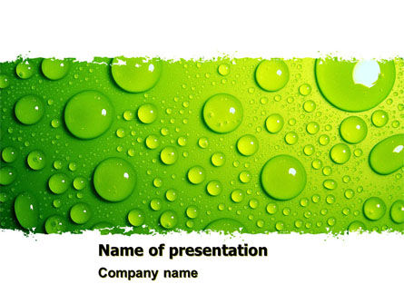 Green Water Drops PowerPoint Template