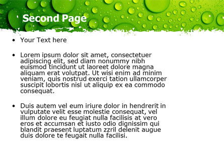 Green Water Drops PowerPoint Template Slide 2