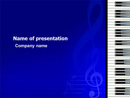 Art & Entertainment: Piano Keyboard On Blue Background PowerPoint Template #05220