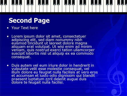Piano Keyboard On Blue Background PowerPoint Template, Slide 2, 05220, Art & Entertainment — PoweredTemplate.com
