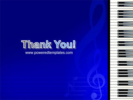 Piano Keyboard On Blue Background PowerPoint Template Slide 20