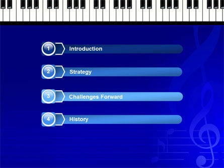 Piano Keyboard On Blue Background PowerPoint Template, Slide 3, 05220, Art & Entertainment — PoweredTemplate.com