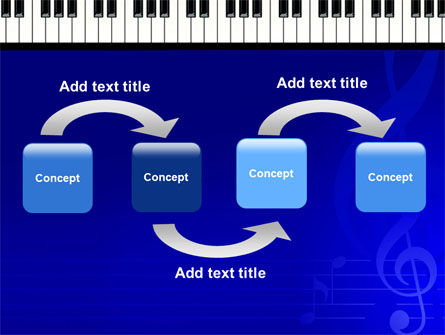 Piano Keyboard On Blue Background PowerPoint Template, Slide 4, 05220, Art & Entertainment — PoweredTemplate.com