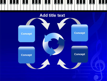 Piano Keyboard On Blue Background PowerPoint Template Slide 6