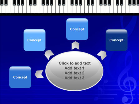 Piano Keyboard On Blue Background PowerPoint Template Slide 7