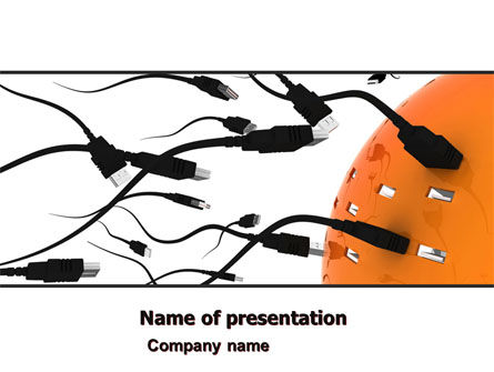 USB Cables PowerPoint Template, 05221, Technology and Science — PoweredTemplate.com
