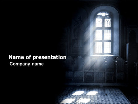 Window In the Church PowerPoint Template, 05230, Religious/Spiritual — PoweredTemplate.com