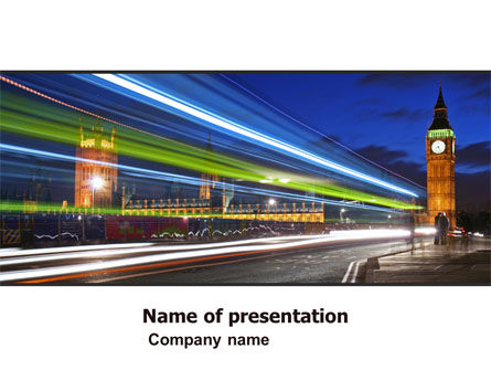 London Night PowerPoint Template, 05241, Flags/International — PoweredTemplate.com