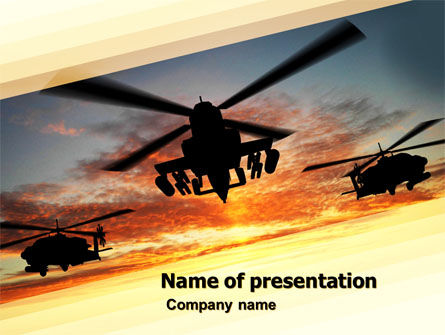 Attack Helicopter PowerPoint Template, 05247, Military — PoweredTemplate.com