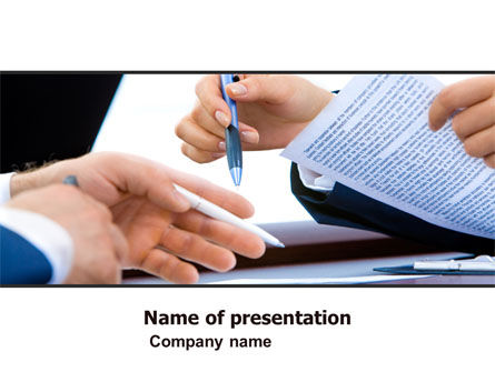Negotiation In Progress PowerPoint Template, 05249, Business — PoweredTemplate.com