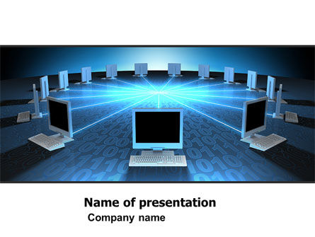 Computers: Networking Connection Star Type PowerPoint Template #05256