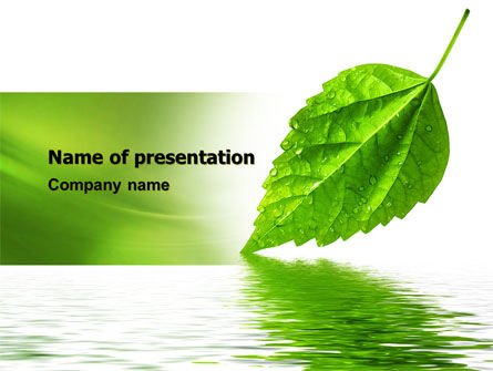 Nature & Environment: Green Leaf Falling PowerPoint Template #05260