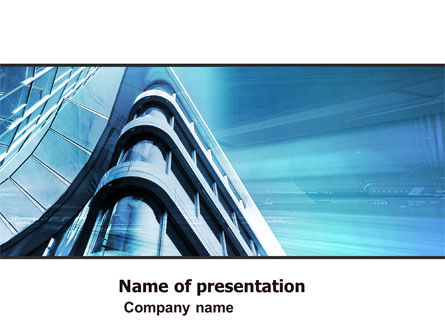 Construction: Blue Colored Skyscraper PowerPoint Template #05261