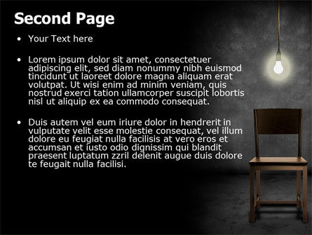 Dark Room With Chair And Lump PowerPoint Template Slide 2