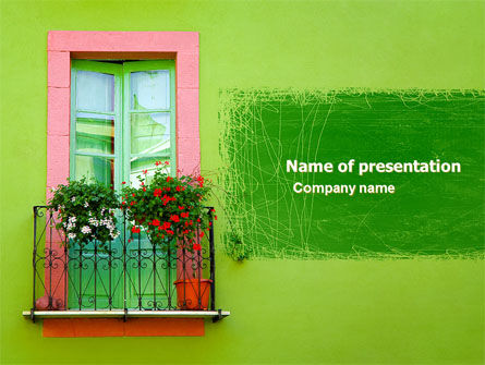 Green Apartment PowerPoint Template, 05277, Art & Entertainment — PoweredTemplate.com