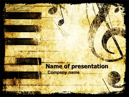 Careers/Industry: Piano Keyboard With Treble Clef PowerPoint Template #05289