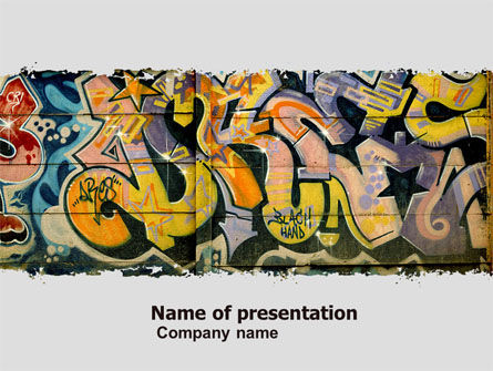 Graffiti on the wall powerpoint template backgrounds 05308 graffiti on the wall powerpoint template 05308 art entertainment poweredtemplate toneelgroepblik Image collections