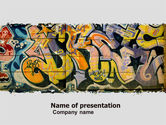 Art & Entertainment: Graffiti On The Wall PowerPoint Template #05308
