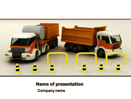 Cars and Transportation: Transport Trucks PowerPoint Template #05338