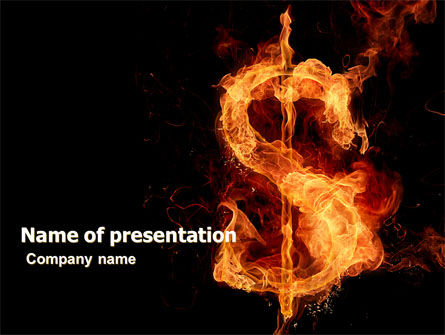 Flaming Dollar PowerPoint Template, 05347, Financial/Accounting — PoweredTemplate.com